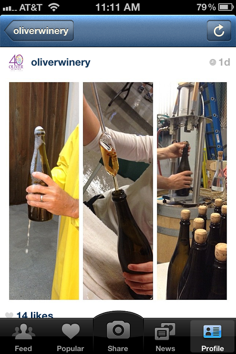 Oliver Winery takes its Instagram followers through its bottling procedure.